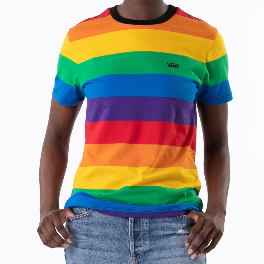Womens Vans Pride Striped Tee - Rainbow