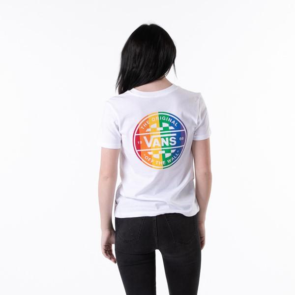 Main view of Womens Vans Pride Crew Tee - White / Rainbow