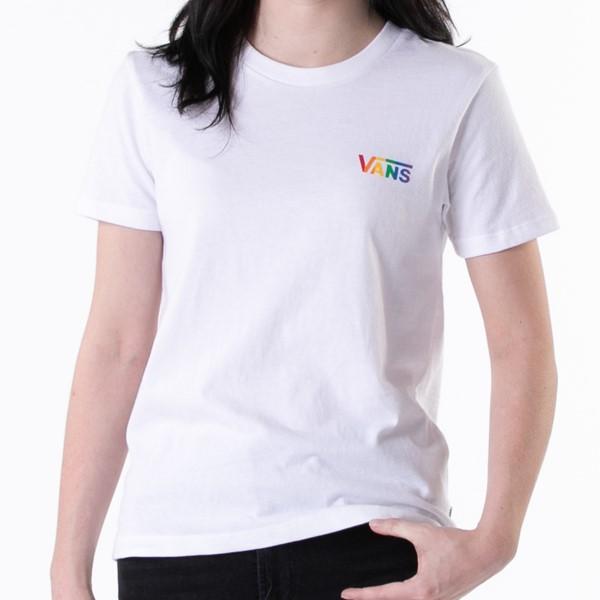 alternate view Womens Vans Pride Crew Tee - White / RainbowALT1C