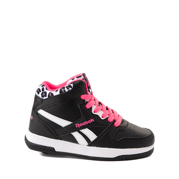 Reebok x Heelys BB4500 Mid Skate Shoe - Little Kid / Big Kid - Black / Pink / Leopard
