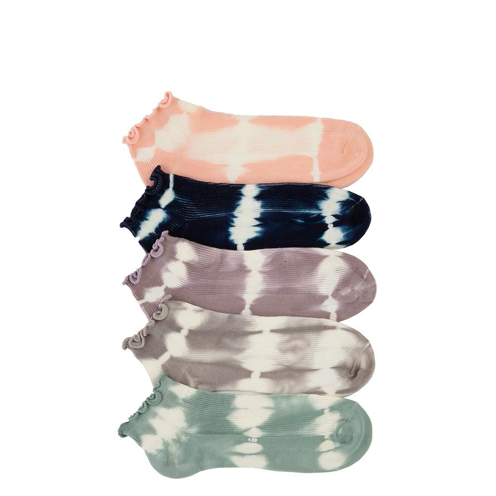 Womens Curly Anklet Socks 5 Pack - Tie Dye