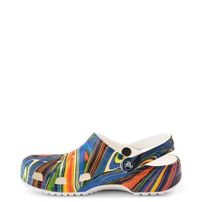 Alternate view of Crocs Classic Clog - White / Cobalt / Marbled Multicolor