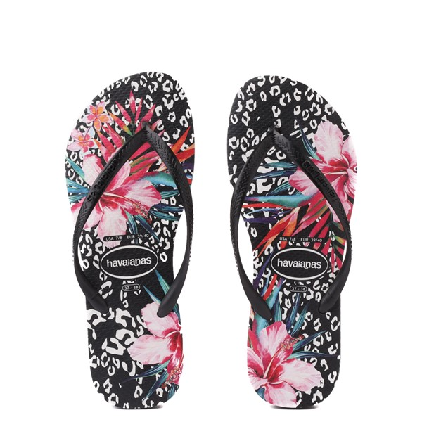 Main view of Womens Havaianas Slim Animal Floral Sandal - Black