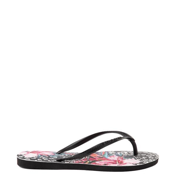 alternate view Womens Havaianas Slim Animal Floral Sandal - BlackALT1
