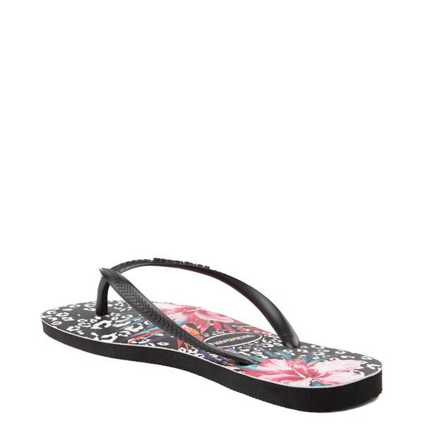 alternate view Womens Havaianas Slim Animal Floral Sandal - BlackALT2