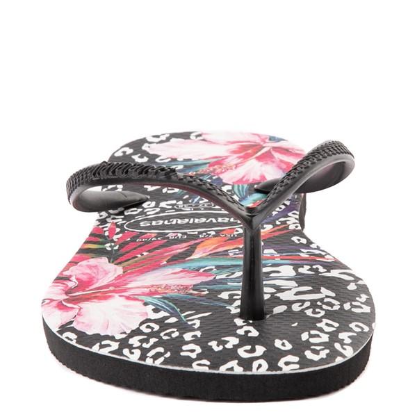 alternate view Womens Havaianas Slim Animal Floral Sandal - BlackALT4