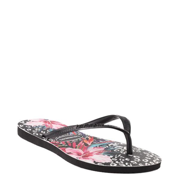 alternate view Womens Havaianas Slim Animal Floral Sandal - BlackALT5