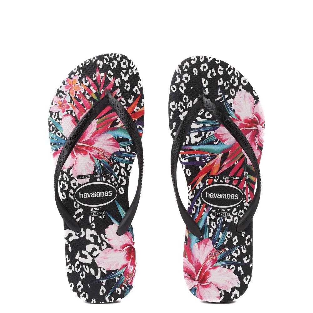 Womens Havaianas Slim Animal Floral Sandal - Black