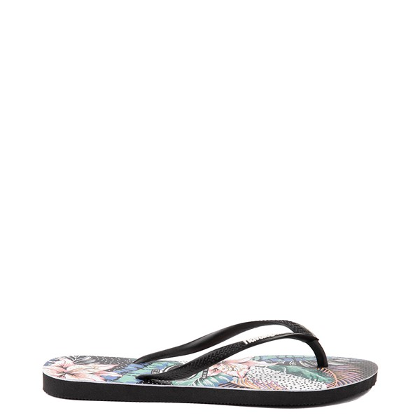 alternate view Womens Havaianas Slim Animal Floral Sandal - BlackALT1