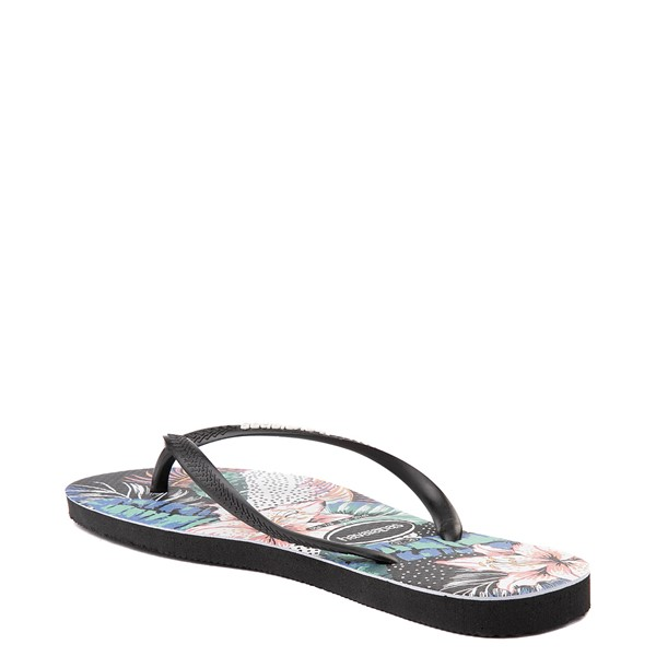 alternate view Womens Havaianas Slim Animal Floral Sandal - BlackALT2