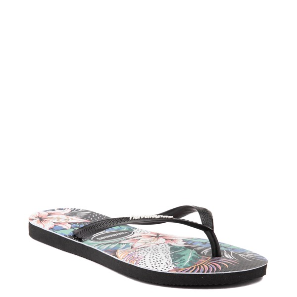 alternate view Womens Havaianas Slim Animal Floral Sandal - BlackALT5