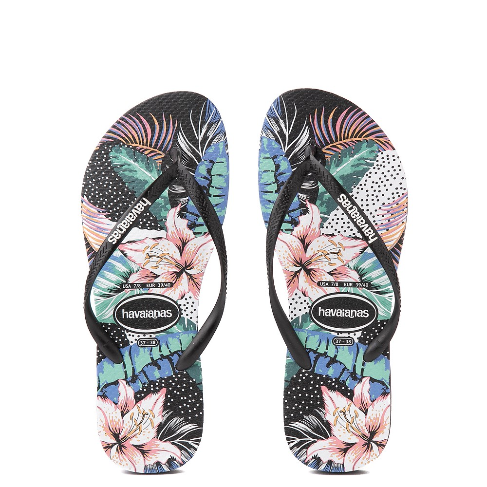 Womens Havaianas Slim Animal Floral Sandal - Black