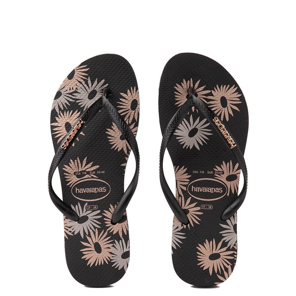 Main view of Womens Havaianas Slim Logo Metallic Sandal - Black