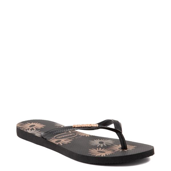 alternate view Womens Havaianas Slim Logo Metallic Sandal - BlackALT1B