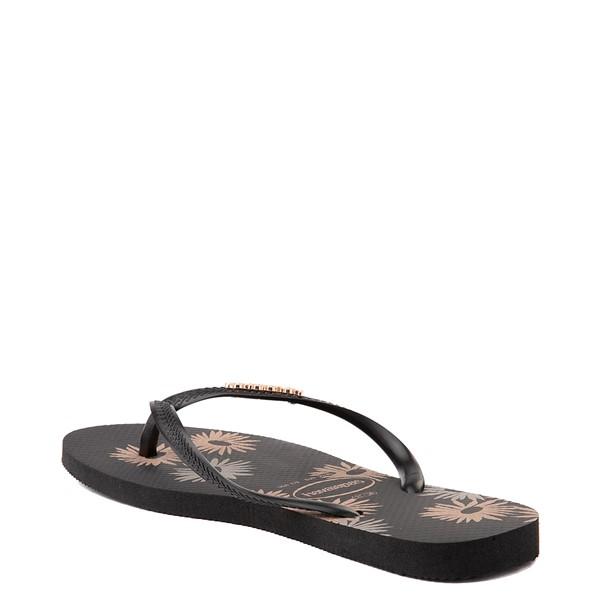 alternate view Womens Havaianas Slim Logo Metallic Sandal - BlackALT2