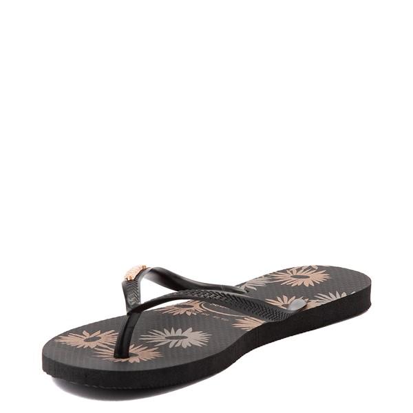 alternate view Womens Havaianas Slim Logo Metallic Sandal - BlackALT3