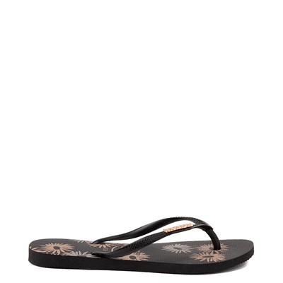 Alternate view of Womens Havaianas Slim Logo Metallic Sandal - Black
