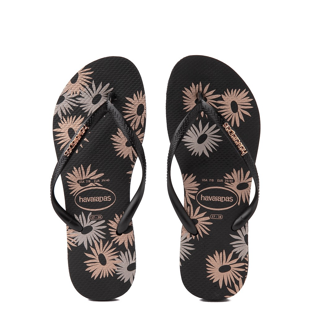 Womens Havaianas Slim Logo Metallic Sandal - Black