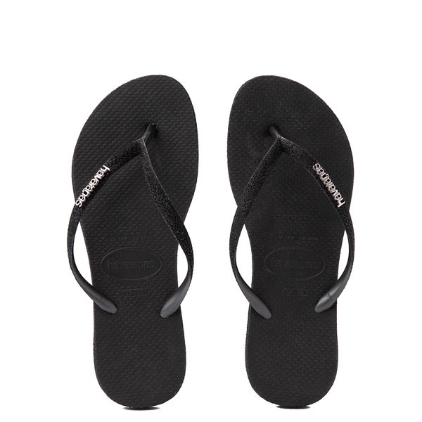 Main view of Womens Havaianas Slim Sparkle Sandal - Black