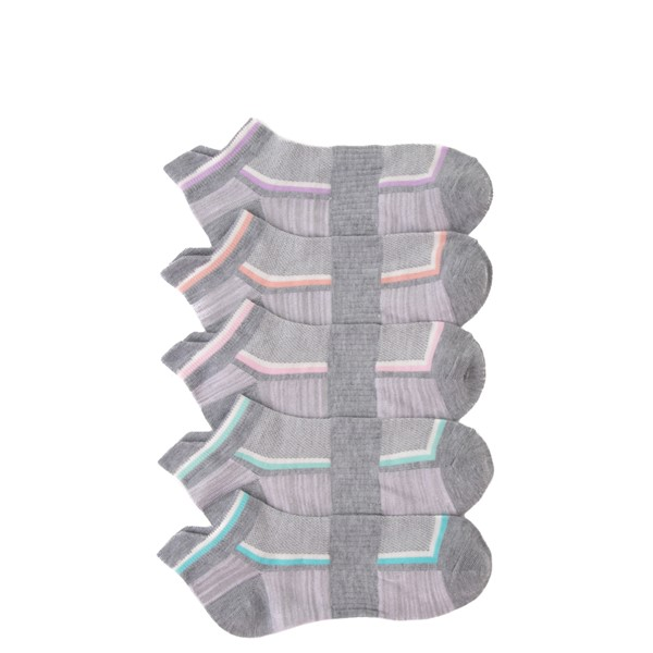 Womens Glow Low Cut Socks 5 Pack - Gray