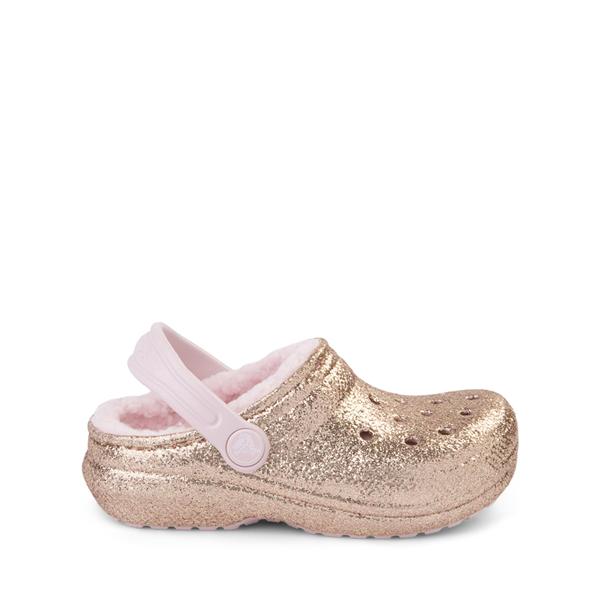 Crocs Classic Fuzz-Lined Glitter Clog - Little Kid / Big Kid - Gold / Barely Pink