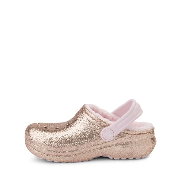 alternate view Crocs Classic Fuzz-Lined Glitter Clog - Little Kid / Big Kid - Gold / Barely PinkALT1