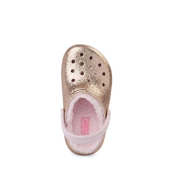 alternate view Crocs Classic Fuzz-Lined Glitter Clog - Little Kid / Big Kid - Gold / Barely PinkALT2