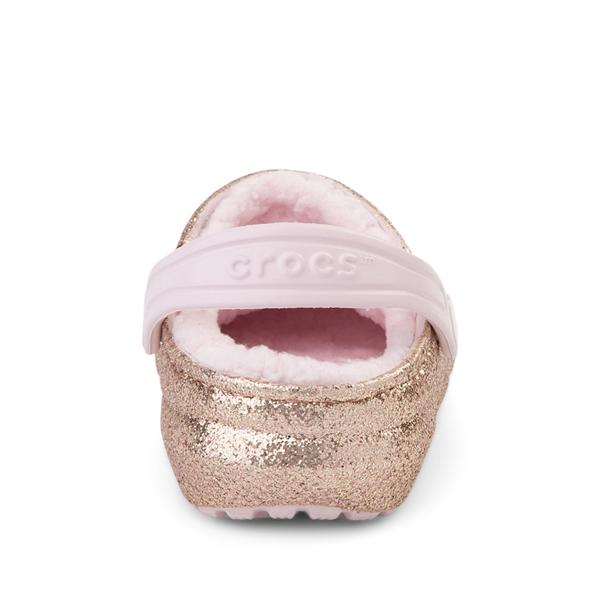alternate view Crocs Classic Fuzz-Lined Glitter Clog - Little Kid / Big Kid - Gold / Barely PinkALT4