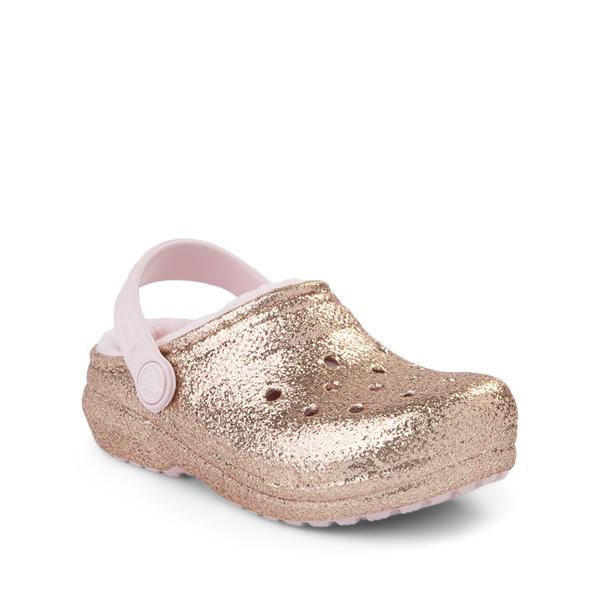 alternate view Crocs Classic Fuzz-Lined Glitter Clog - Little Kid / Big Kid - Gold / Barely PinkALT5