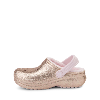 Alternate view of Crocs Classic Fuzz-Lined Glitter Clog - Little Kid / Big Kid - Gold / Barely Pink