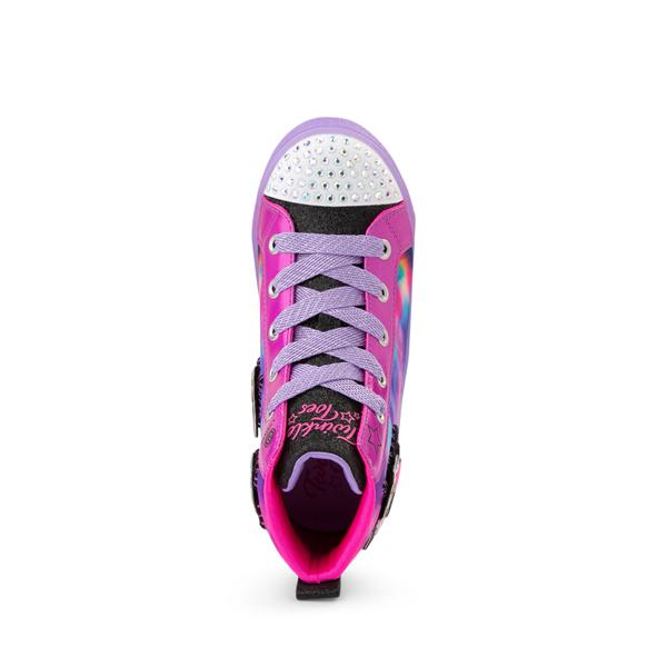 alternate view Skechers Twinkle Toes Shuffle Brights Patch 'N' Play Sneaker - Little Kid - Black / MulticolorALT2