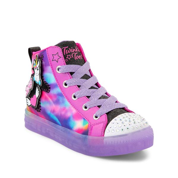 alternate view Skechers Twinkle Toes Shuffle Brights Patch 'N' Play Sneaker - Little Kid - Black / MulticolorALT5