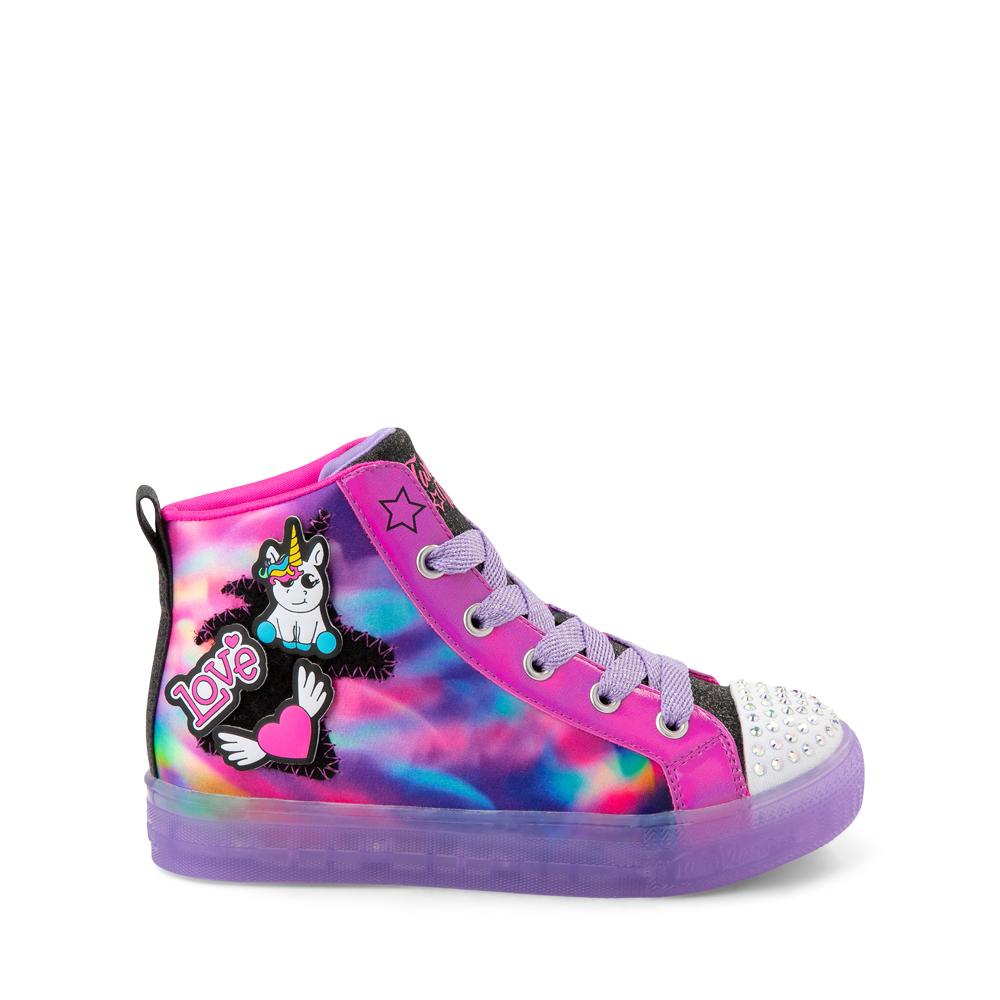 Skechers Twinkle Toes Shuffle Brights Patch 'N' Play Sneaker - Little Kid - Black / Multicolor