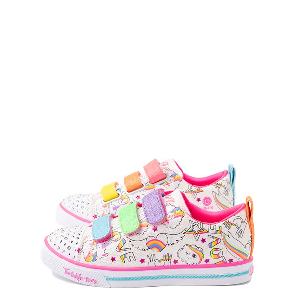 alternate view Skechers Twinkle Toes Sparkle Lite Believe In Rainbows Sneaker - Little Kid - White / MulticolorALT1B