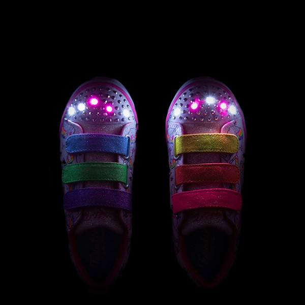 alternate view Skechers Twinkle Toes Sparkle Lite Believe In Rainbows Sneaker - Little Kid - White / MulticolorALT2B