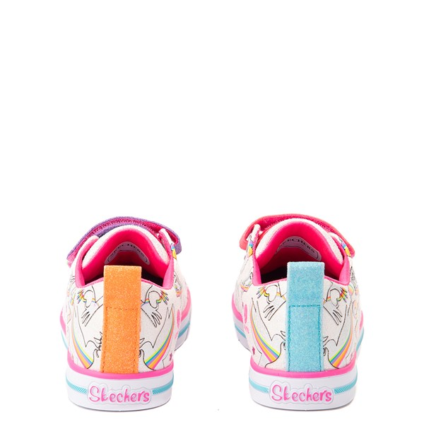 alternate view Skechers Twinkle Toes Sparkle Lite Believe In Rainbows Sneaker - Little Kid - White / MulticolorALT4