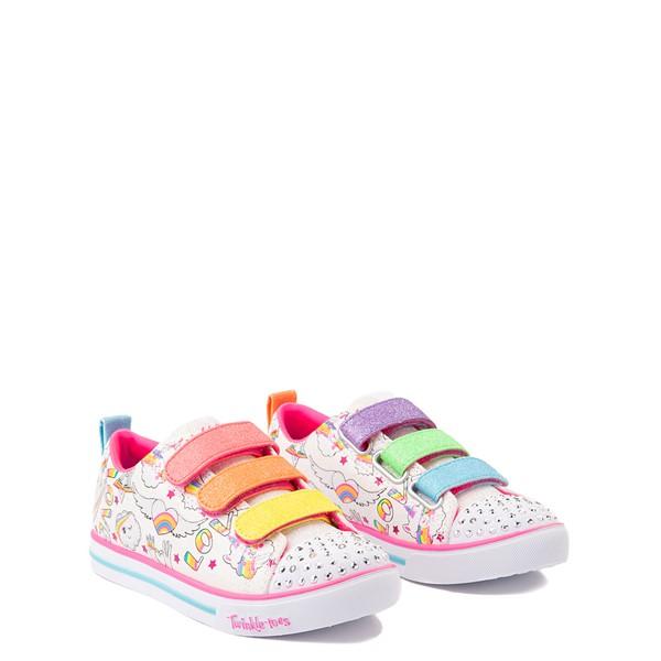 alternate view Skechers Twinkle Toes Sparkle Lite Believe In Rainbows Sneaker - Little Kid - White / MulticolorALT5