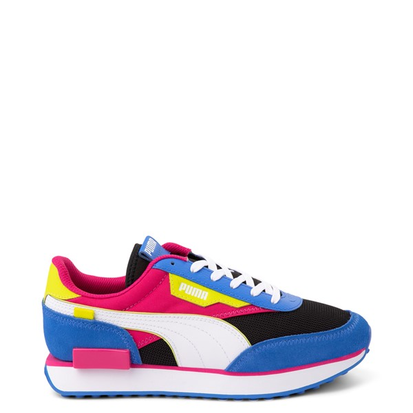 Womens Puma Future Rider Play On Athletic Shoe - Black / Pink / Lime / Blue