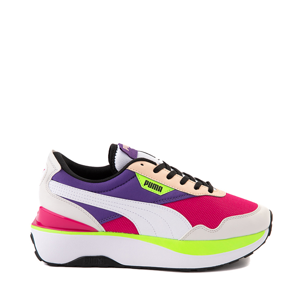Womens Puma Cruise Rider Platform Athletic Shoe - Gray / Pink / Purple / Lime