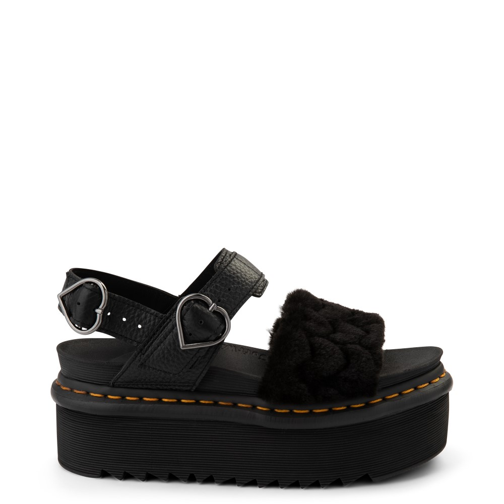 Womens Dr. Martens Voss Fluffy Quad Sandal - Black