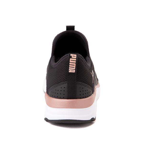 alternate view Puma SoftRide Sophia Slip On Athletic Shoe - Big Kid - Black / Rose GoldALT4