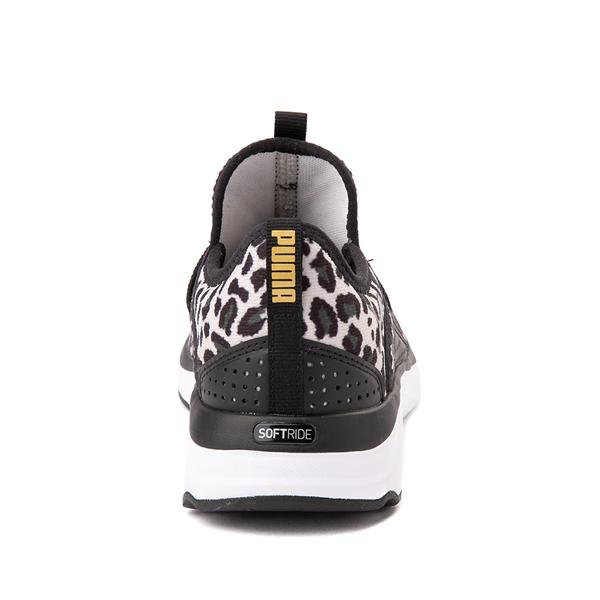 alternate view Puma SoftRide Sophia Slip On Athletic Shoe - Little Kid / Big Kid - Black / LeopardALT4