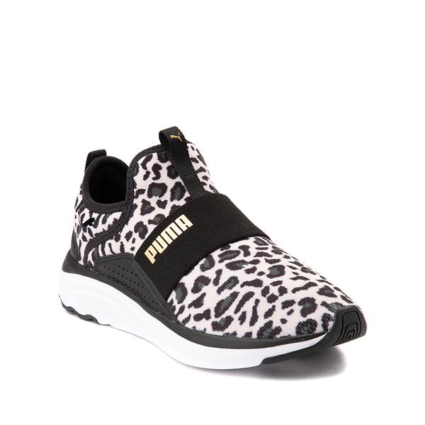 alternate view Puma SoftRide Sophia Slip On Athletic Shoe - Little Kid / Big Kid - Black / LeopardALT5