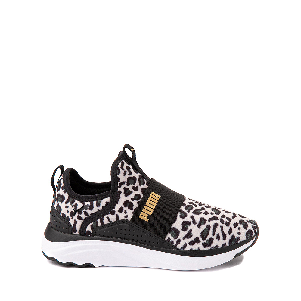 Puma SoftRide Sophia Slip On Athletic Shoe - Little Kid / Big Kid - Black / Leopard