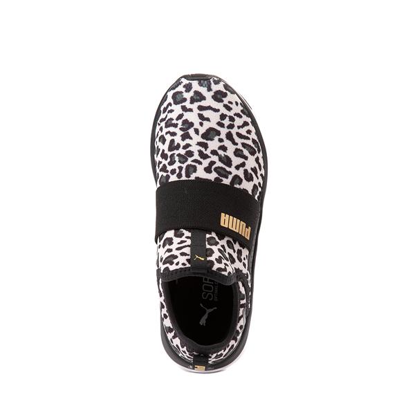 alternate view Puma SoftRide Sophia Slip On Athletic Shoe - Big Kid - Black / LeopardALT2