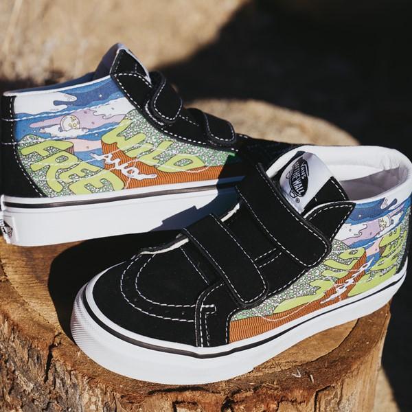 alternate view Vans x Parks Project Sk8 Mid Reissue V Wild And Free Skate Shoe - Little Kid - Black / MulticolorALT1B