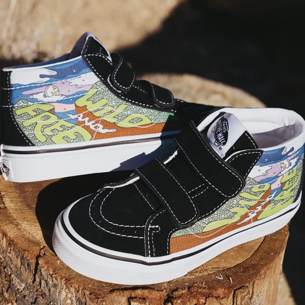 alternate view Vans x Parks Project Sk8 Mid Reissue V Wild And Free Skate Shoe - Baby / Toddler - Black / MulticolorALT1B