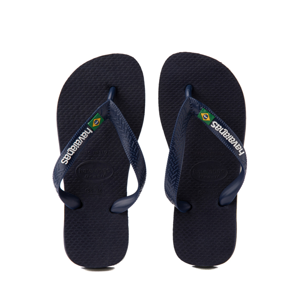 Main view of Havaianas Brazil Logo Sandal - Toddler / Little Kid - Navy