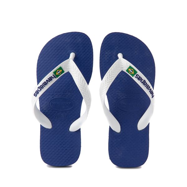 Main view of Havaianas Brazil Logo Sandal - Toddler / Little Kid - Marine Blue