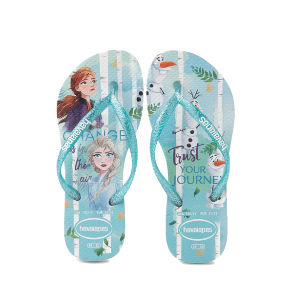Main view of Havaianas Slim Frozen 2 Sandal - Toddler / Little Kid - Blue Frost